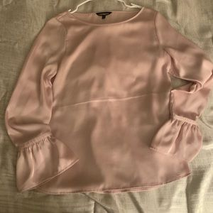 Pink satin bell sleeve top